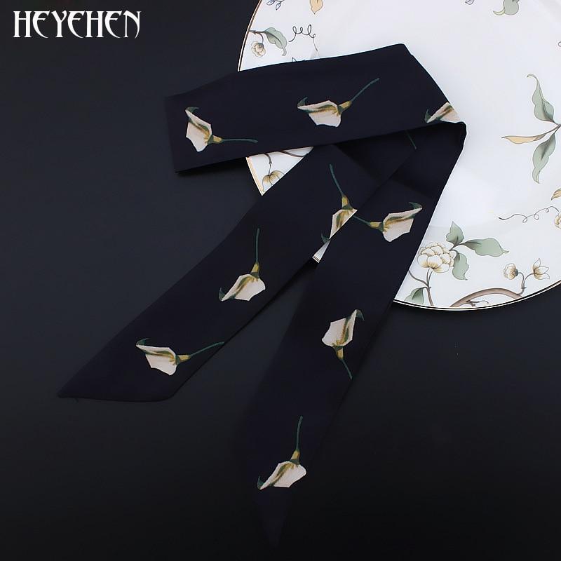 France Floral Luxury Brand Women Foulard Fashion Flower Print Skinny Small Bag Twill Silk Scarf Ribbon Head Hair Handle Scarf