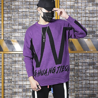 Purple Letter Casual Loose Knitted Men Sweater Autumn Long Sleeve Turtleneck Red Sweaters Winter Designer Pullover Sweaters 2019