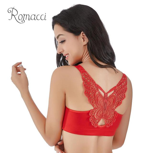 70c5210323e Romacci Sexy Women Plus Size Bra Seamless Front Closure Bra Back Butterfly  Lace 3 4 Cup V Neck Large Size Push Up Bra Brassiere