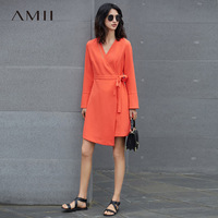 Amii Casual Women Dress 2017 V Neck Knee High Long Sleeve Solid Dresses