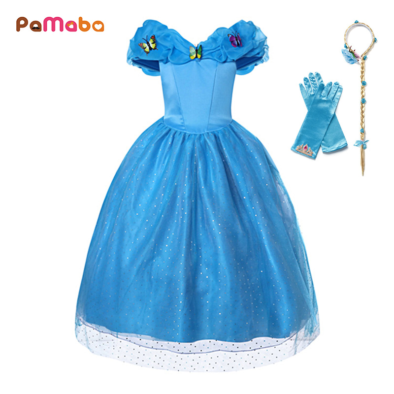 PaMaBa Flower Girls Princess Party Dress Cinderella Cosplay Costume Puff V Neck Butterflies Embellished Kids Birthday Ball Gown button embellished retro print notch neck tee