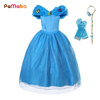 PaMaBa Flower Girls Princess Party Dress Cinderella Cosplay Costume Puff V Neck Butterflies Embellished Kids Birthday Ball Gown