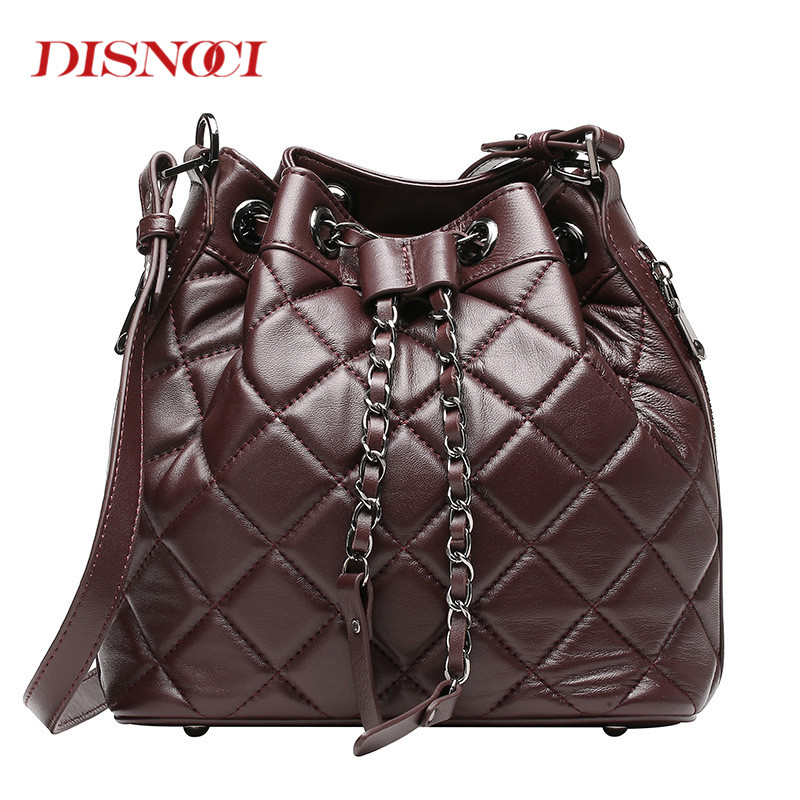 DISNOCI New sheepskin leather handbags bucket fashion shoulder bag genuine leather cross body bags chains women messenger bag fashion leather handbags luxury head layer cowhide leather handbags women shoulder messenger bags bucket bag lady new style