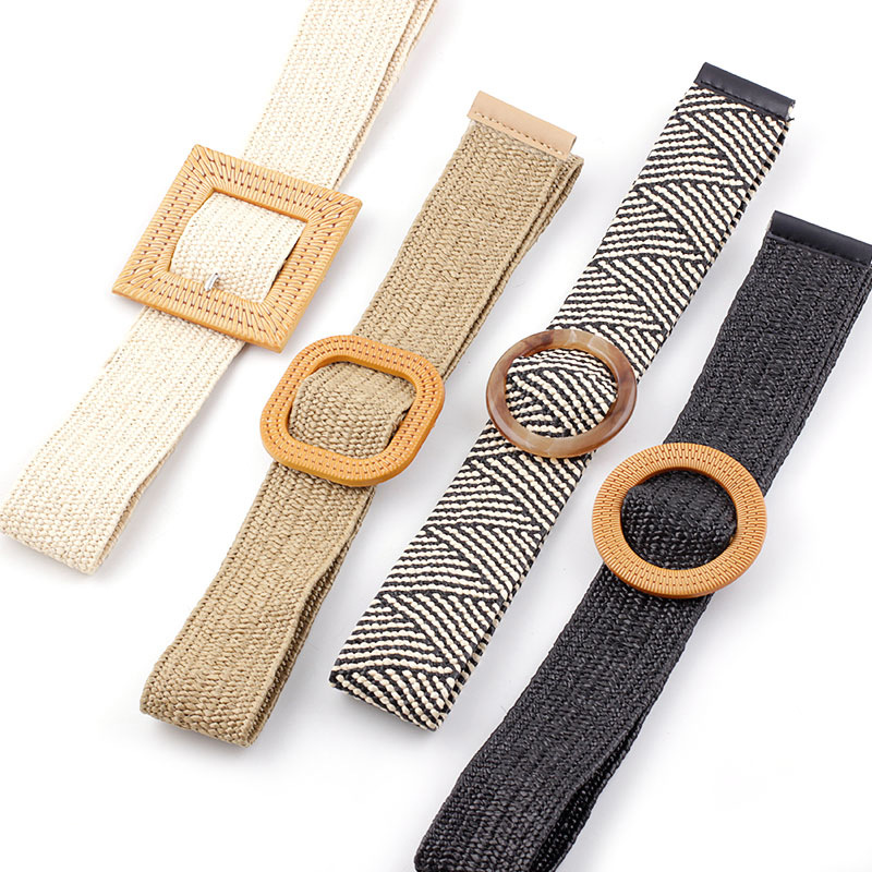 2019 New Women's Wide Straw Braided Woven Belt Female Round Square Wooden Buckle Belts For Women Dress Cinturon Madera Paja