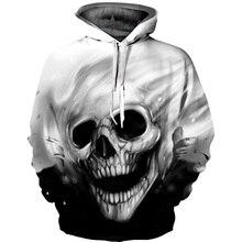 2017 3D Hoodies Men Áo Nỉ Trùm Đầu Tan Chảy Skull 3D Print Casual Chui Thời Trang Dạo Phố Mùa Thu Thường Xuyên Hipster