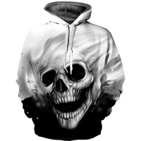 2018 3D Hoodies Men Hoody Sweatshirt Melted Skull 3D Print Quality Loose Thin Fashion Casual Pullovers