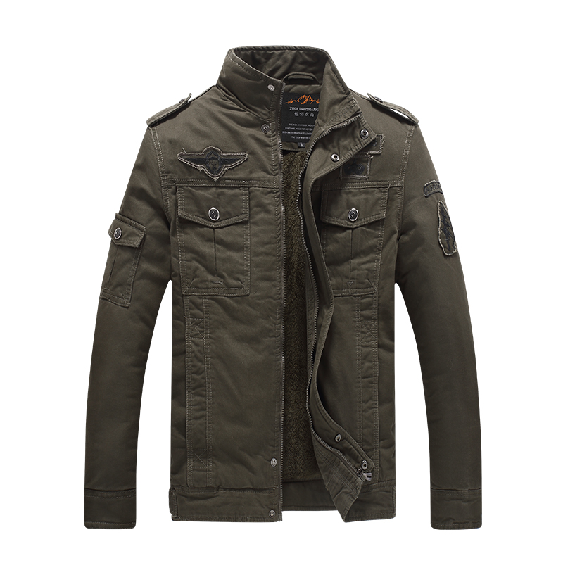 Wintet Casual Mens Fur winter Coats Army Green Outwear Military Man thick Cotton Winter Jacket Men Parka Thermal 8333