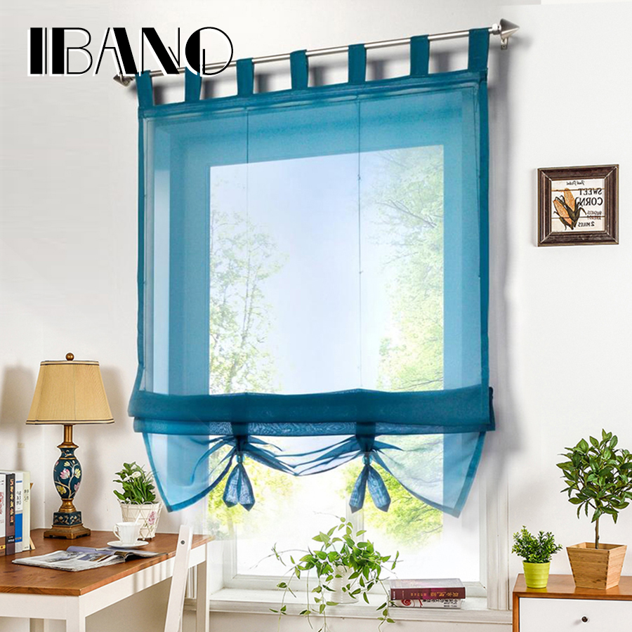Roman Curtain Solid Sheer Window Panel Drape For the Kitchen Living ...
