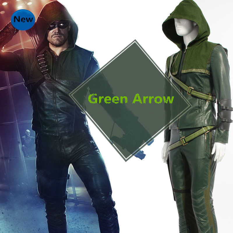 New Oliver Queen Green Cosplay Costume Hoodie Top Pants Gloves Eye Patch