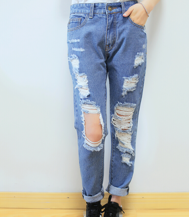 26 30 Hot sale Women's ripped jeans Fashion boyfriend jeans for ...