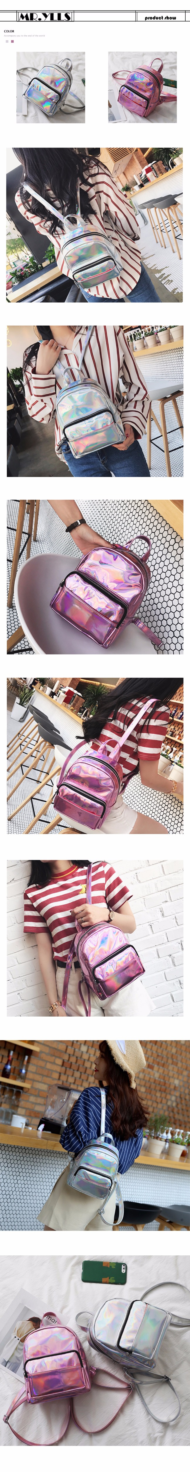 82bde29fbfd8 Laser Dazzle Colorful Women Backpacks Gradient Color Jelly Backpack ...