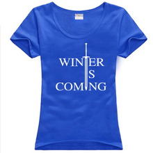 SexeMara free shipping Game of Thrones Stark Winter Is Coming Two Swords print letter woman women