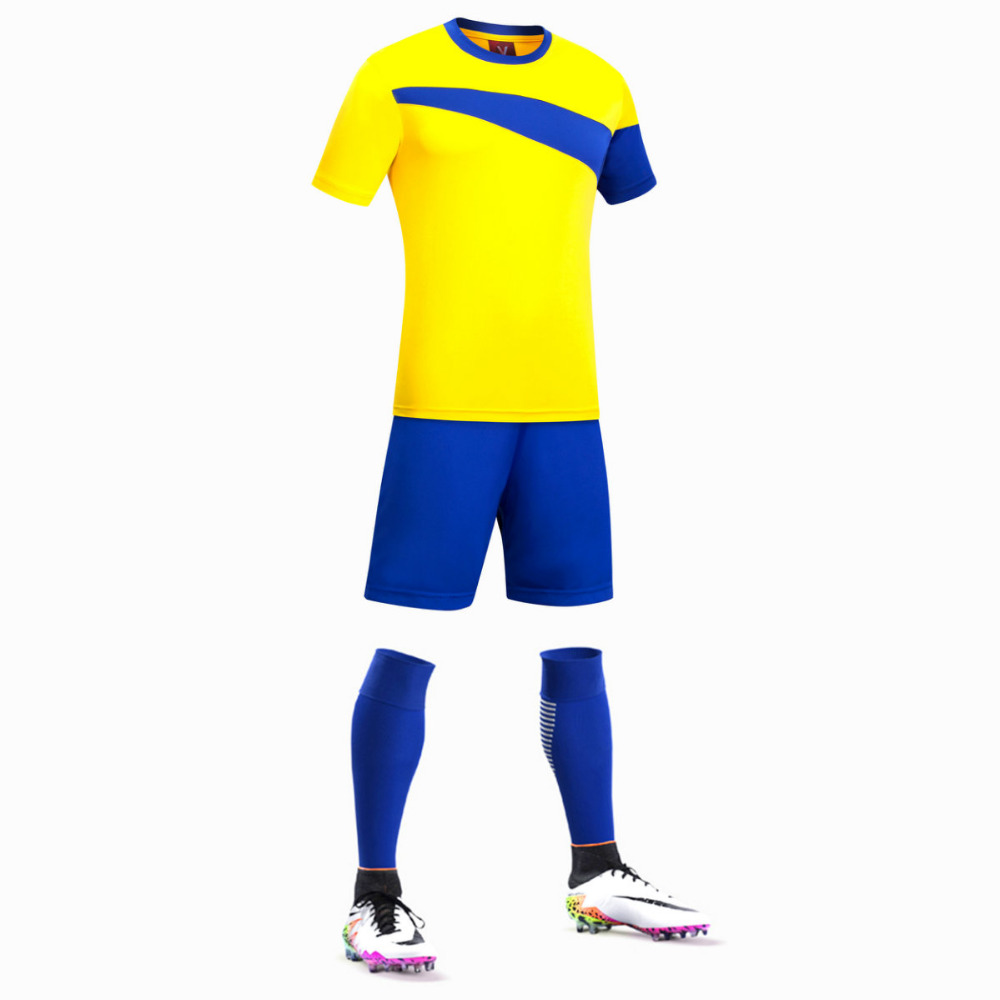 Free Shipping 2017 Nice Looking Yellow Color Kids Soccer Jerseys Sets Football Team Soccer