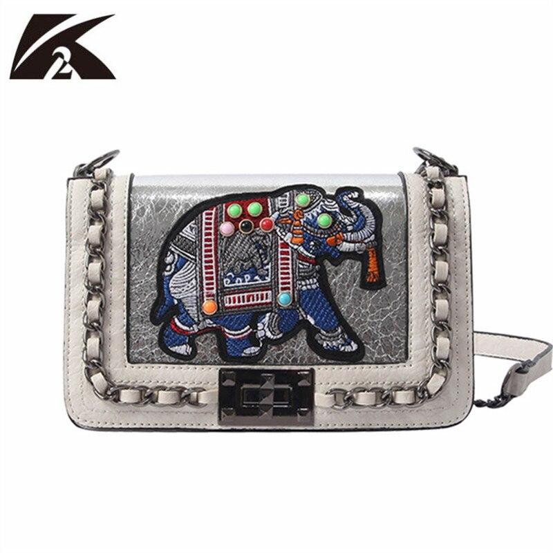 Damentaschen Witfox Leder Brieftasche Frauen 2019 Luxus Schafe Haut Echtem Leder Schulter Tasche Stickerei Elefanten Muster Damen Taschen Weibliche Kupplungen
