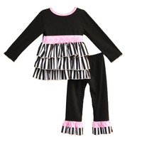 Hot Sale Girls 2 Pcs Clothing Black Stripes Ruffle Top Knitted Cotton Pants Children Full Sleeves