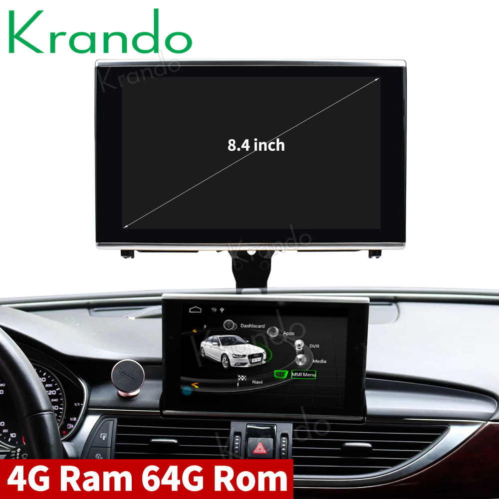 Krando Android 8 1 8 4 car radio dvd navigation for Audi A6 A6L 2012 2015