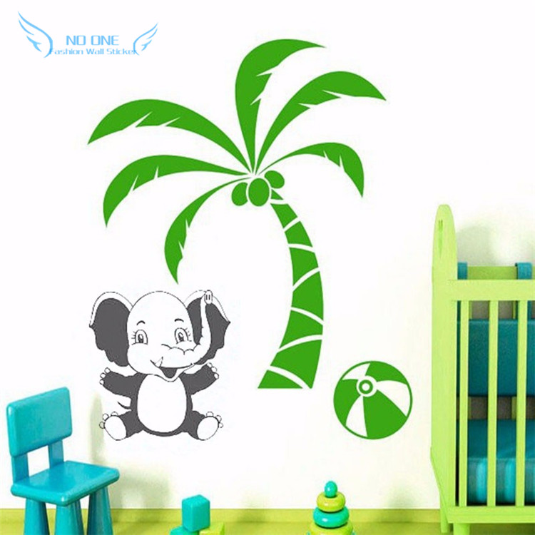 Cute Baby Elephant Sitting On Palm Tree Wall Decals Wall