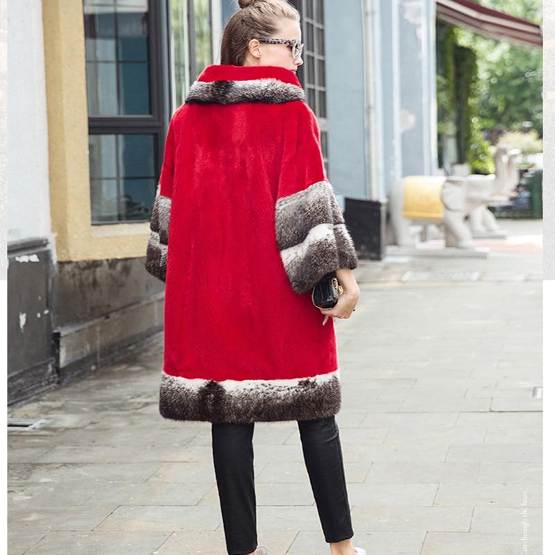 LVCHI 2019 Boho Nyata Mink Mantel Wanita Fashion Merah Lebar Pinggang - Pakaian Wanita - Foto 3