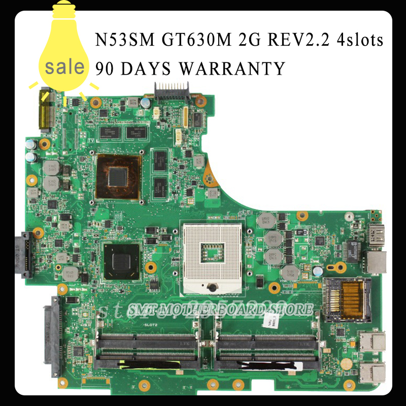 N53SV N53SN N53SM Laptop motherboard For Asus N53SV REV2.2 Mainboard GT630M 2G 4 RAM Solts tested ok