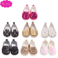 Doll shoes fashion sequin 4 colors 7 styles fit 43 cm baby dolls and 18 inch Girl shoe accessories g11-g166