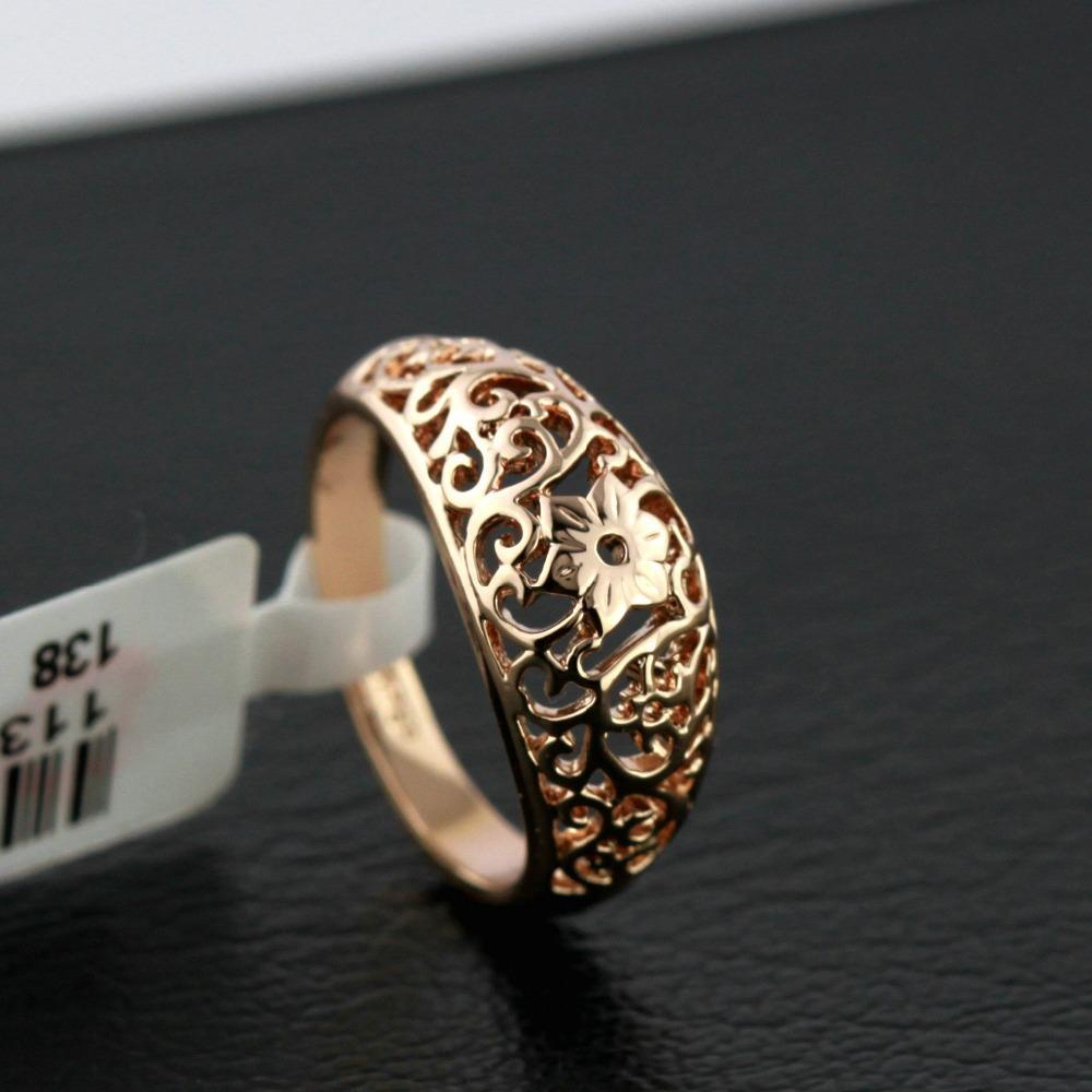 Jewelry Craft-Ring Flower-Hollowing Rose-Gold-Color Beautiful Vintage Fashion Women Hot-Selling