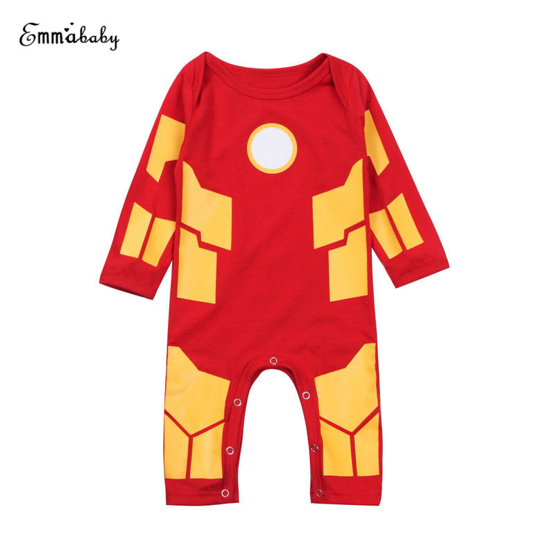 0-24M Super Hero Iron Man Newborn Baby Boy Long Sleeve Cotton Romper Jumpsuit Playsuit Outfits Clothes infant newborn toddler baby boy girl clothes summer spring romper playsuit casual short sleeve clothes solid outfits 0 24m