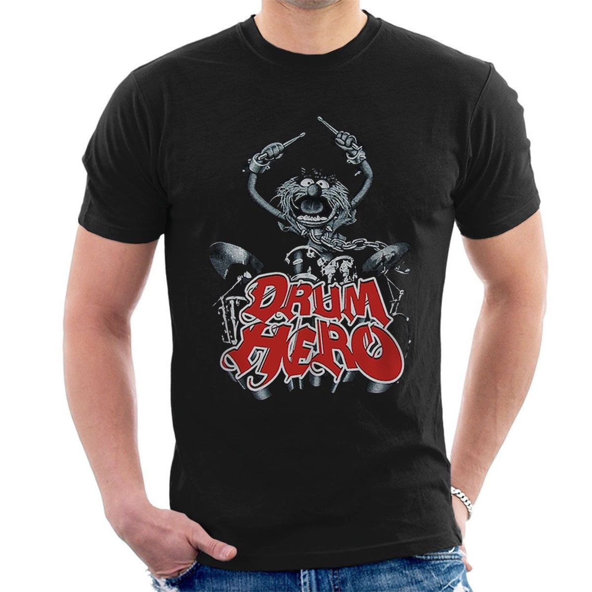 Candid Drum Hero T-shirt Animal Drummer Show Muppet Inspired Paiste Zildjian Tee A01 New T Shirts Funny Tops Tee New Free Shipping Tops & Tees