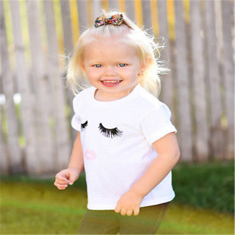 HTB18S3peDmWBKNjSZFBq6xxUFXaI HOT Mom and Daughter Matching Clothes Women Mother&Kids Baby Girl Summer Short Sleeve Eyelash Bodysuit T Shirts Clothes