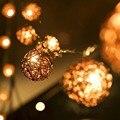 5 m 20 marrón Sepak Takraw Rattan bolas LED cadena luces de hadas Garden Party boda navidad luces de la decoración