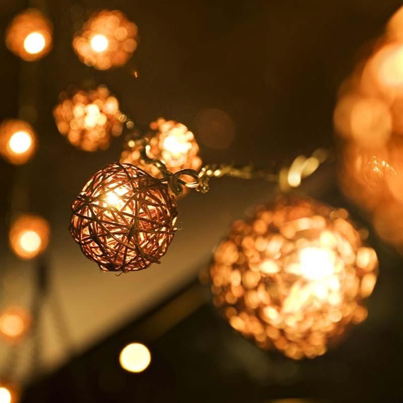5m 20 Brown Coffee Sepak Takraw Rattan Balls LED String Fairy Lights Garden Christmas Wedding Party Decoration Lights