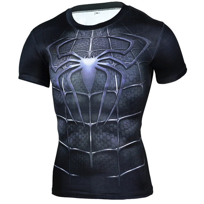 Superhero Spiderman 3D Muscle Shirt Fitness Slim Fit T Shirts Bodybuilding Muscle Top Men's Compression tights Shirt Streetwear