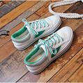 Women Contrast Color Canvas Shoes Lace Up Casual Flats New 2017 Preppy Style Harajuku Ladies White Flat Heel Shoes Free Shipping