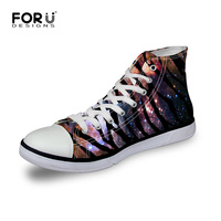 Fashion Women Flat Shoes High Top Summer Canvas Flat Shoes Women Breathable Lace Up Women Galaxy