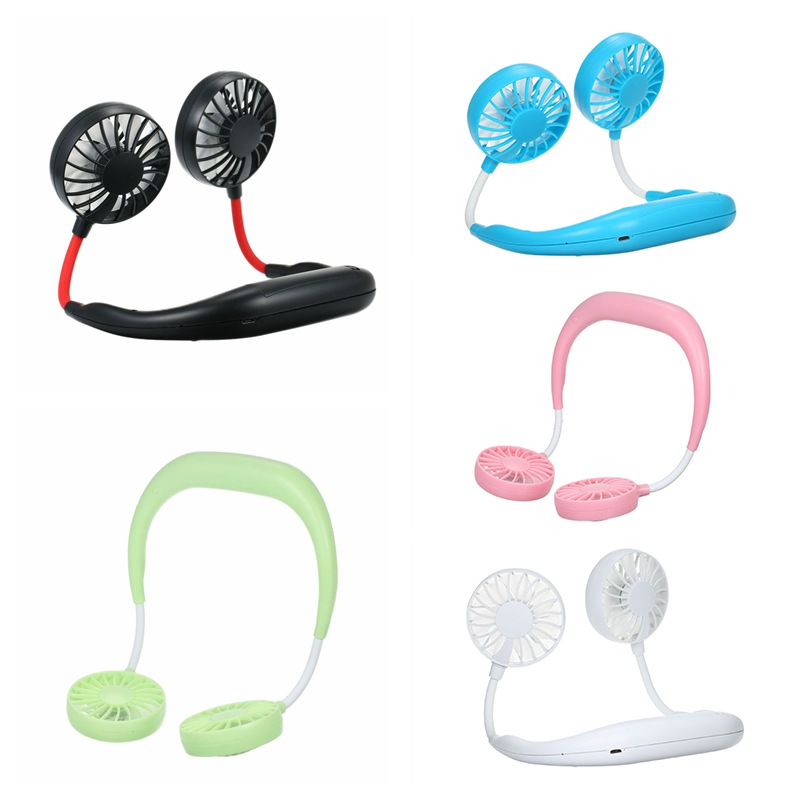 Fan Wearable Double-Fans Neckband Personal Hand-Free Office USB for Home 3-Speed