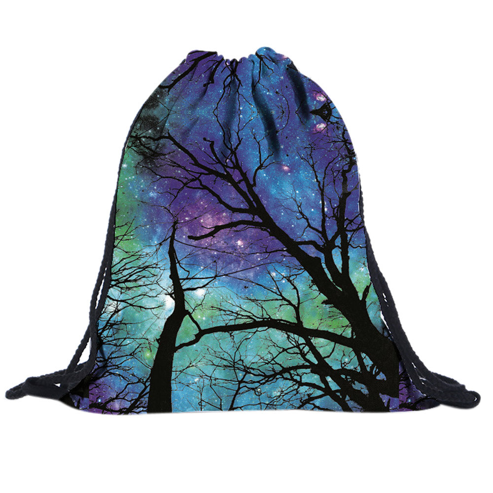 ISHOWTIENDA Drawstring Bag For Women Unisex Backpacks Starry Sky Tree 3D Printing Bags Drawstring Backpack Sac A Dos Ficelle