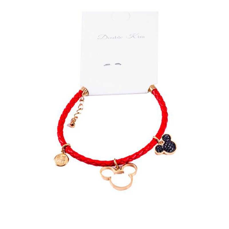 Браслет из красной кожи Микки Минни милый каваи стиль титана сталь Материал розовое золото цвет Модные женские ювелирные изделия подарок