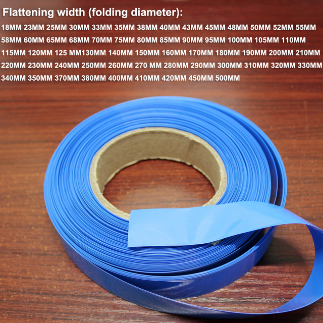 1kg 30MM wide blue lithium battery PVC heat shrinkable sleeve Battery DIY skin replacement package insulating film