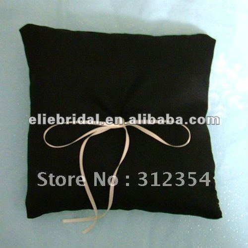 Black Pure Love Satin Ring Pillow With Thin Ribbon Bow