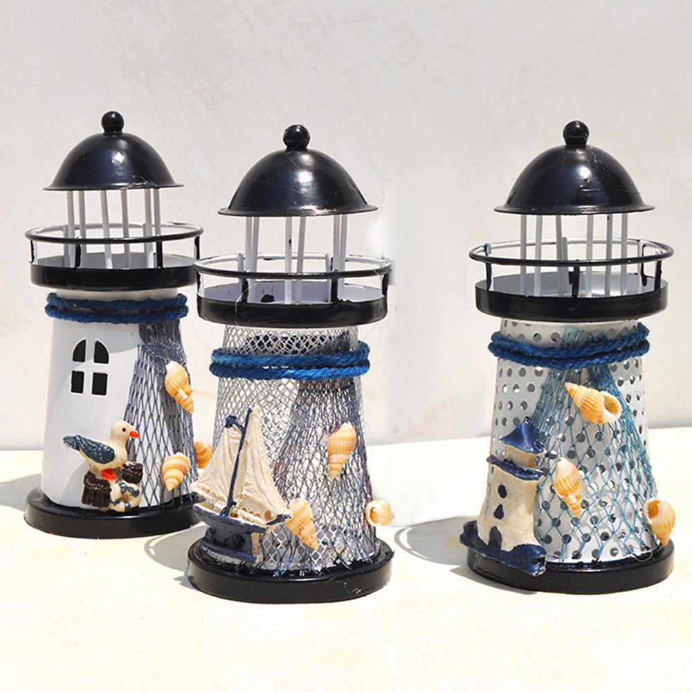 Faro miniatura 14cm pintado a mano faro hierro modelo vela soporte náutico pez red Concha boya decoración estrecha modelo # es