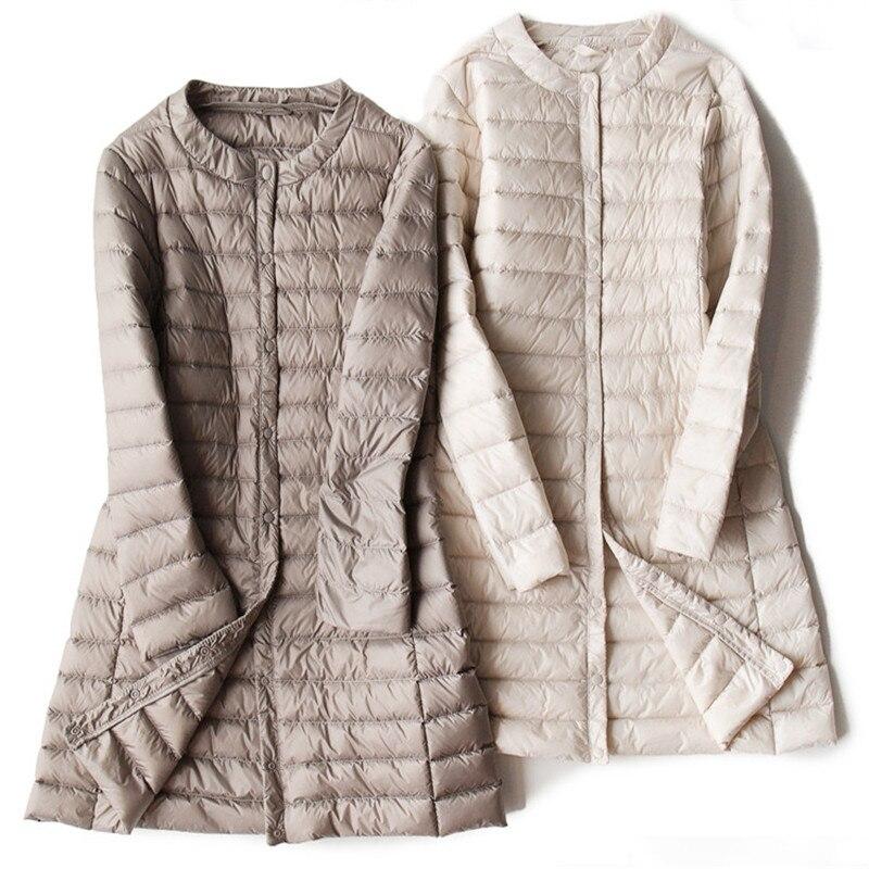 2018 Autumn Winter Women White Duck   Down   Jacket Ultra Light Long   Down     Coat   Parka Female Thin Outwears Tops Plus Size L-4XL A1090