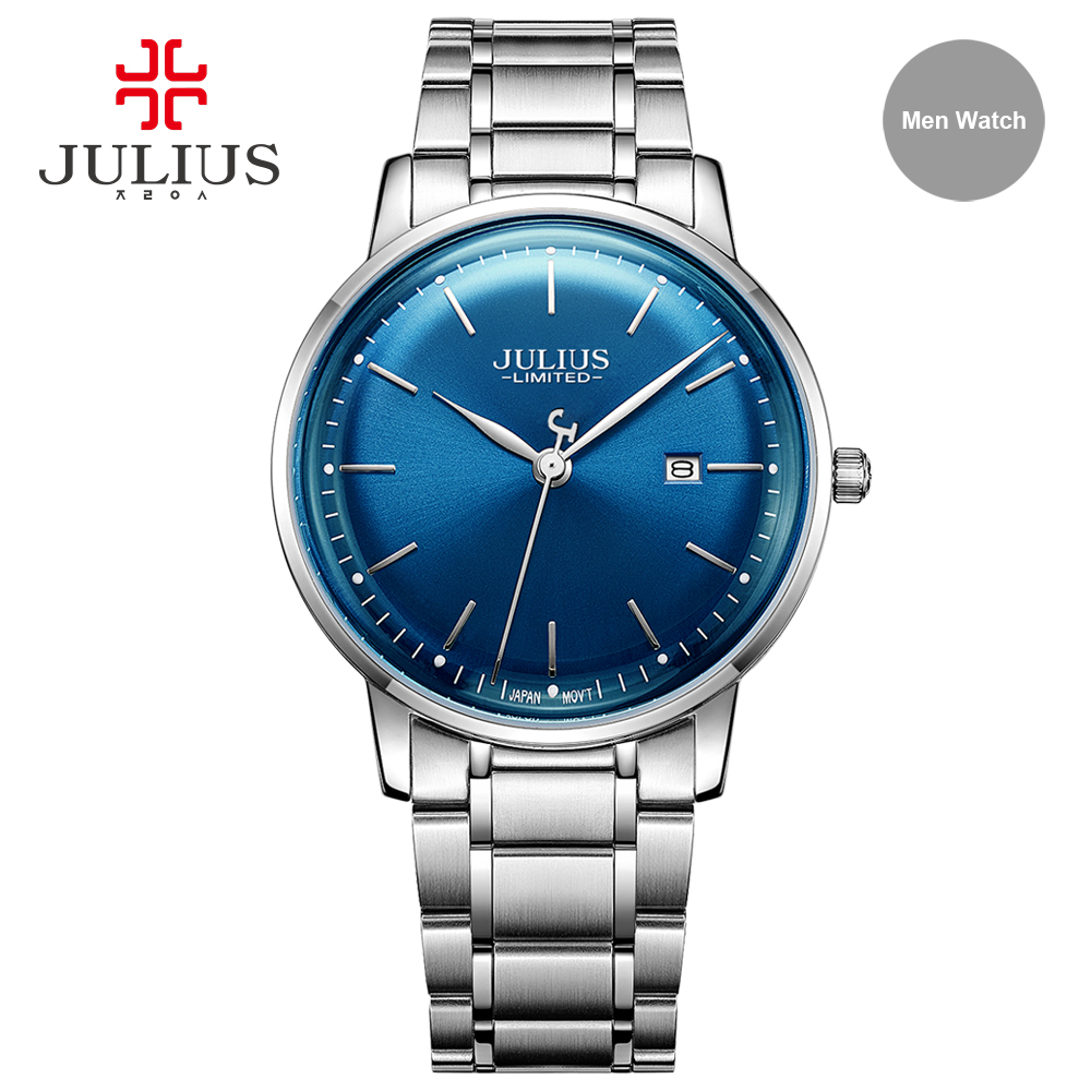 Julius Brand Stainless Steel Watch Ultra Thin 8mm Men 30M Waterproof Wristwatch Auto Date Limited Edition Whatch Montre JAL-040 недорго, оригинальная цена