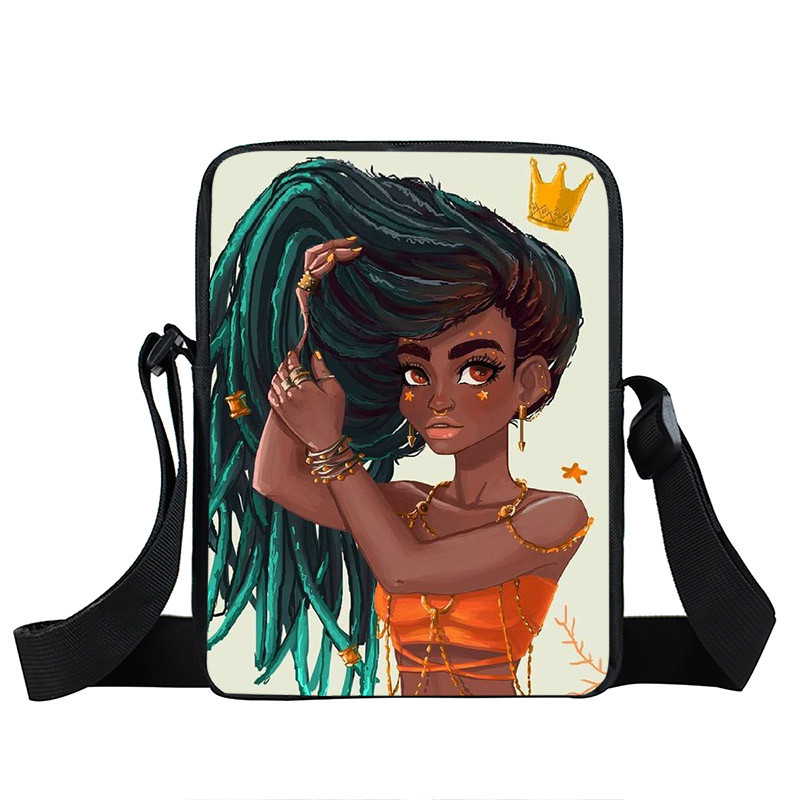 Afro Lady Girl messenger bag Africa Beauty Princess small shoulder bag brown women handbag mini totes teenager crossbody bags 8