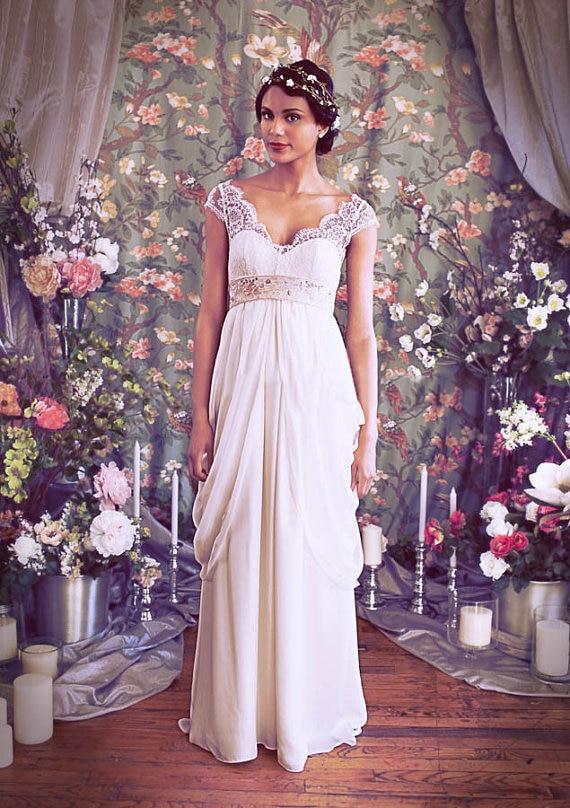 Latest Style Floor Length V-Neck Cap Sleeve Ruffles Beaded Crystal Elegant Lace Chiffon Beach 2018 Mother Of The Bride Dresses