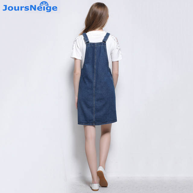 9b0c39d69d8 placeholder Suspender Denim Skirt Women 2018 New Takedown Braces Jeans  Skirts Blue Jeans Front Big Pocket Ladies