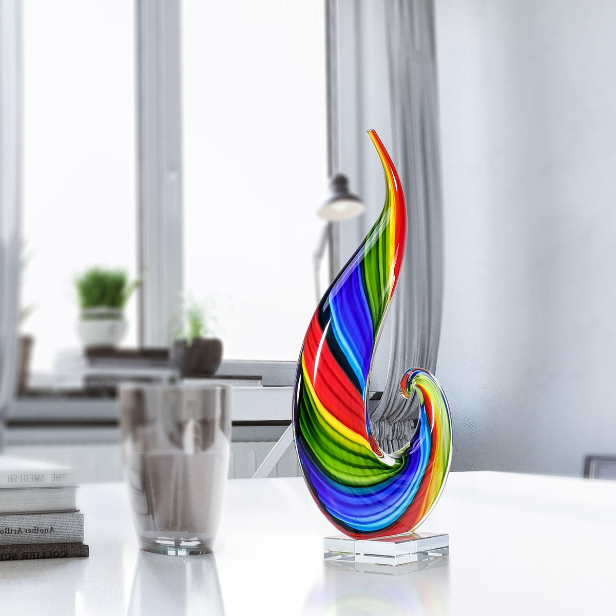 Rainbow Glass Sculpture Hand Blown Glass Art Rainbow Sculpture Figurine Abstract Glass Sculpture Mullticolor For Living Room