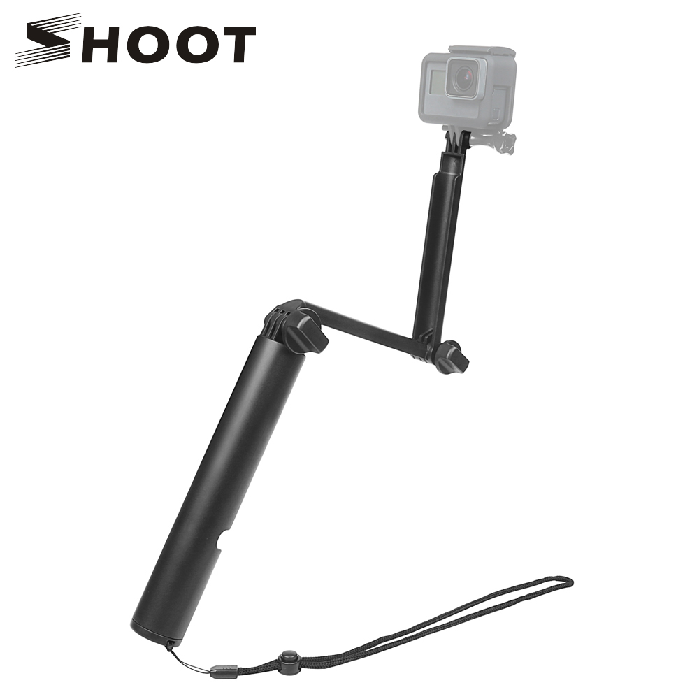 SHOOT Monopod 3 Way Grip Selfie Stick for GoPro Hero 6 5 4 Session Xiaomi Yi 4K Sjcam Sj4000 Eken H9 H9r Go Pro Hero Accessories for gopro hero 4 accessories flat curved adhesive mount base with vhb for gopro hero 5 4 3 session sjcam sj4000 sj6000 h9 kits
