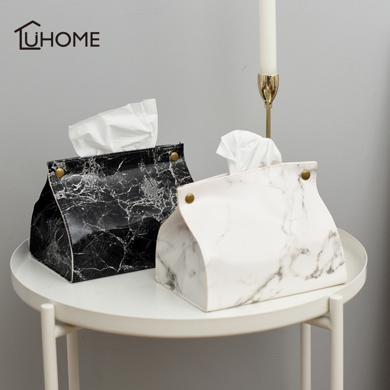 Nordic Style Marble Pattern Tissue Box PU Leather Home Car Napkin Paper Container Paper Towel Napkin Case Pouch Home Decor|Storage Boxes & Bins| |  - title=