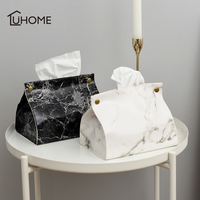 Nordic Style Marble Pattern Tissue Box PU Leather Home Car Napkin Paper Container Paper Towel Napkin Case Pouch Home Decor|Storage Boxes & Bins| |  -