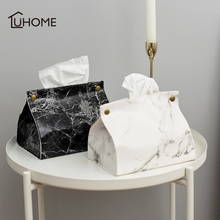 Nordic Style Marble Pattern Tissue Box PU Leather Home Car Napkin Paper Container Towel Case Pouch Decor