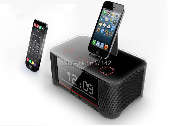 A8 Bluetooth Speaker Portable Loudspeaker NFC Dock Station for Apple Samsung ipod//touch/Iphone 6 Clock Remote Control